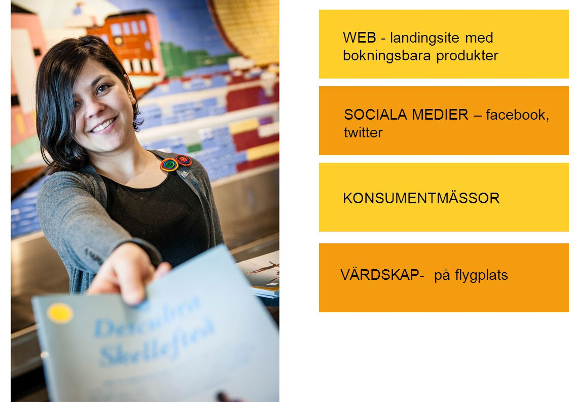 WEB - landingsite med bokningsbara produkter KONSUMENTMÄSSOR VÄRDSKAP- på flygplats SOCIALA MEDIER – facebook, twitter