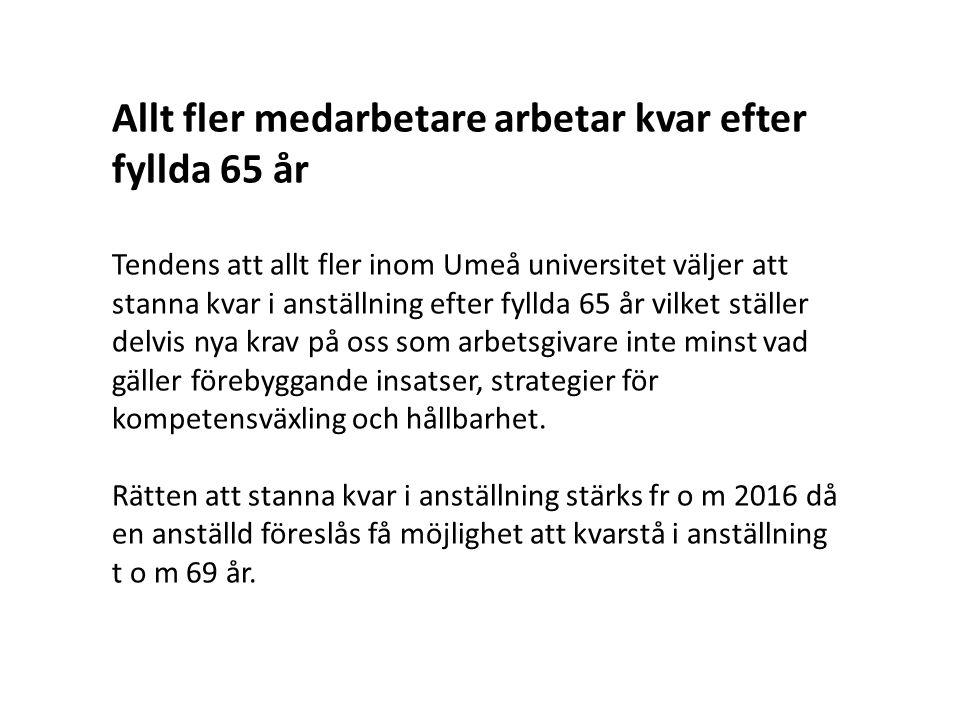 Allt fler medarbetare arbetar kvar efter fyllda 65 år Tendens att allt fler inom Umeå universitet väljer att stanna kvar i anställning efter fyllda 65