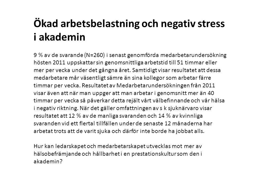Ökad arbetsbelastning och negativ stress i akademin 9 % av de svarande (N=260) i senast genomförda medarbetarundersökning hösten 2011 uppskattar sin genomsnittliga arbetstid till 51 timmar eller mer per vecka under det gångna året.