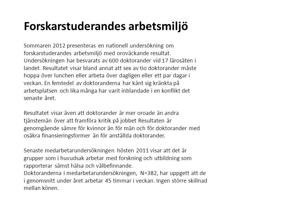 Forskarstuderandes arbetsmiljö Sommaren 2012 presenteras en nationell undersökning om forskarstuderandes arbetsmiljö med oroväckande resultat. Undersö