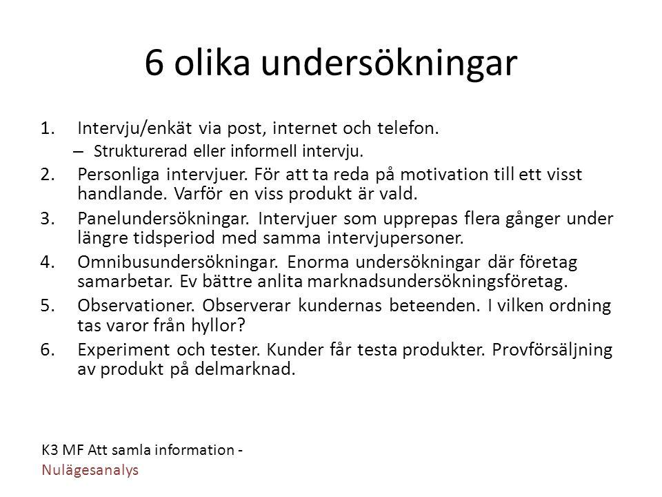 K3 MF Att samla information - Nulägesanalys 6 olika undersökningar 1.Intervju/enkät via post, internet och telefon. – Strukturerad eller informell int