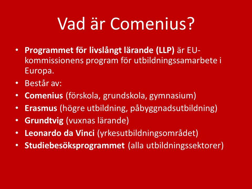 Vad är Comenius? Programmet för livslångt lärande (LLP) är EU- kommissionens program för utbildningssamarbete i Europa. Består av: Comenius (förskola,