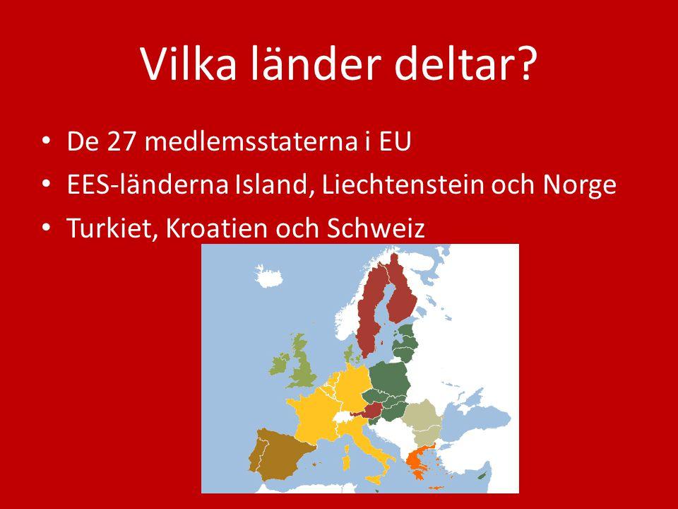 Vilka länder deltar? De 27 medlemsstaterna i EU EES-länderna Island, Liechtenstein och Norge Turkiet, Kroatien och Schweiz
