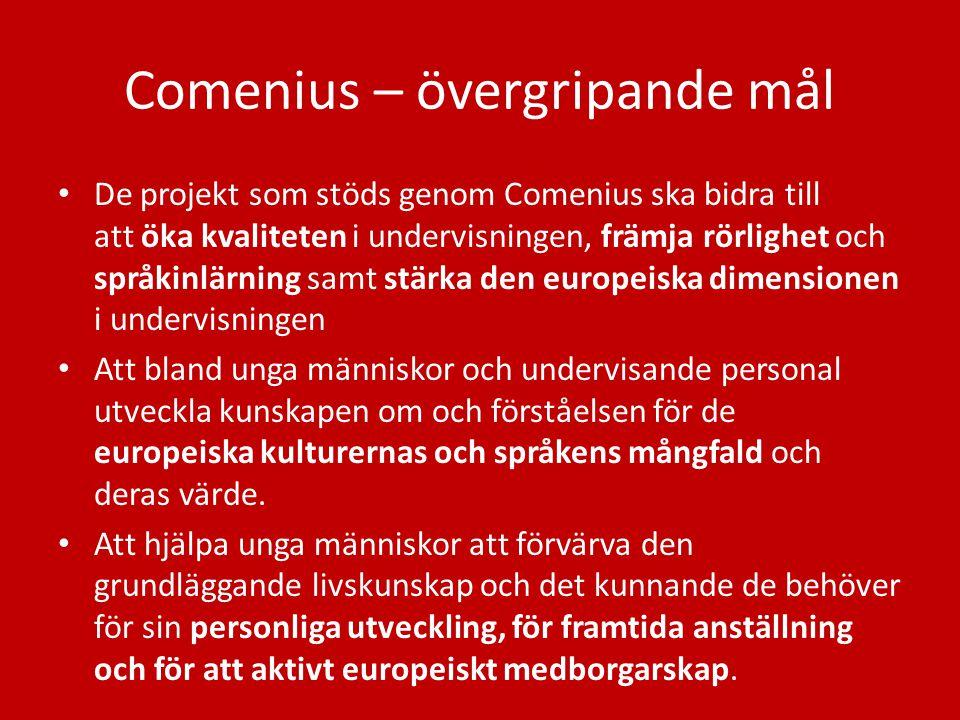 Comenius – övergripande mål De projekt som stöds genom Comenius ska bidra till att öka kvaliteten i undervisningen, främja rörlighet och språkinlärnin