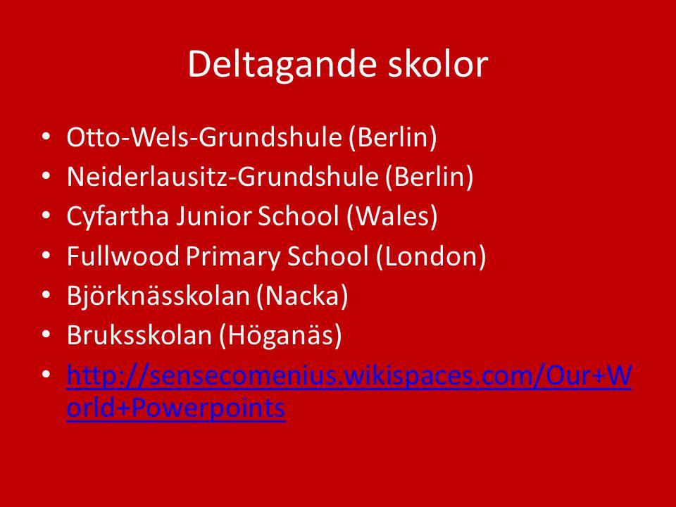 Deltagande skolor Otto-Wels-Grundshule (Berlin) Neiderlausitz-Grundshule (Berlin) Cyfartha Junior School (Wales) Fullwood Primary School (London) Björ