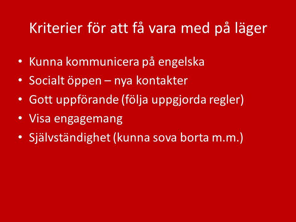 Kriterier för att få vara med på läger Kunna kommunicera på engelska Socialt öppen – nya kontakter Gott uppförande (följa uppgjorda regler) Visa engag