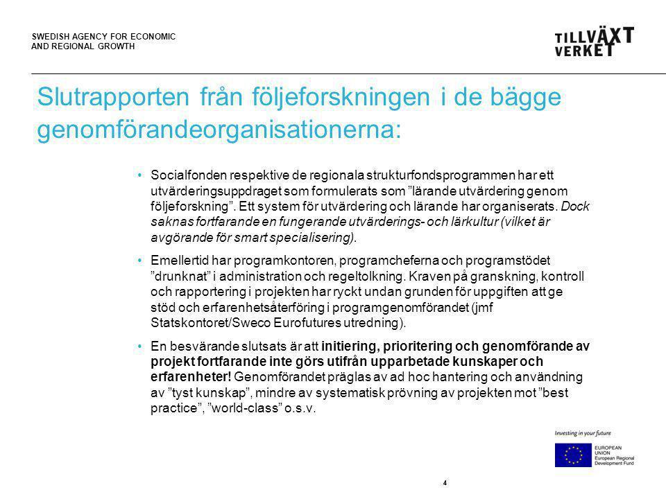 SWEDISH AGENCY FOR ECONOMIC AND REGIONAL GROWTH 44 Slutrapporten från följeforskningen i de bägge genomförandeorganisationerna: Socialfonden respektiv