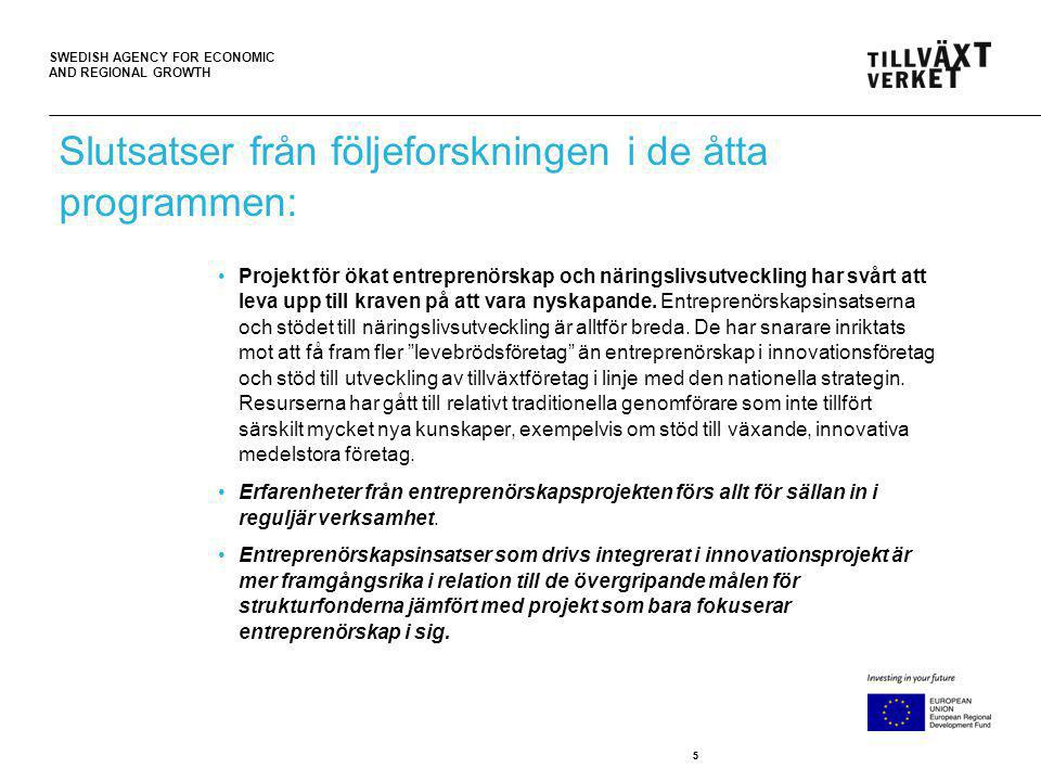 SWEDISH AGENCY FOR ECONOMIC AND REGIONAL GROWTH 55 Slutsatser från följeforskningen i de åtta programmen: Projekt för ökat entreprenörskap och näringslivsutveckling har svårt att leva upp till kraven på att vara nyskapande.