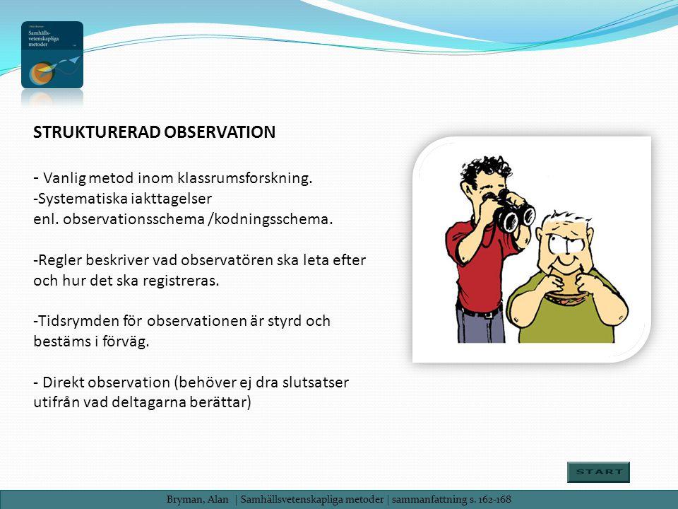 Bryman, Alan| Samhällsvetenskapliga metoder | sammanfattning s. 162-168 STRUKTURERAD OBSERVATION - Vanlig metod inom klassrumsforskning. -Systematiska