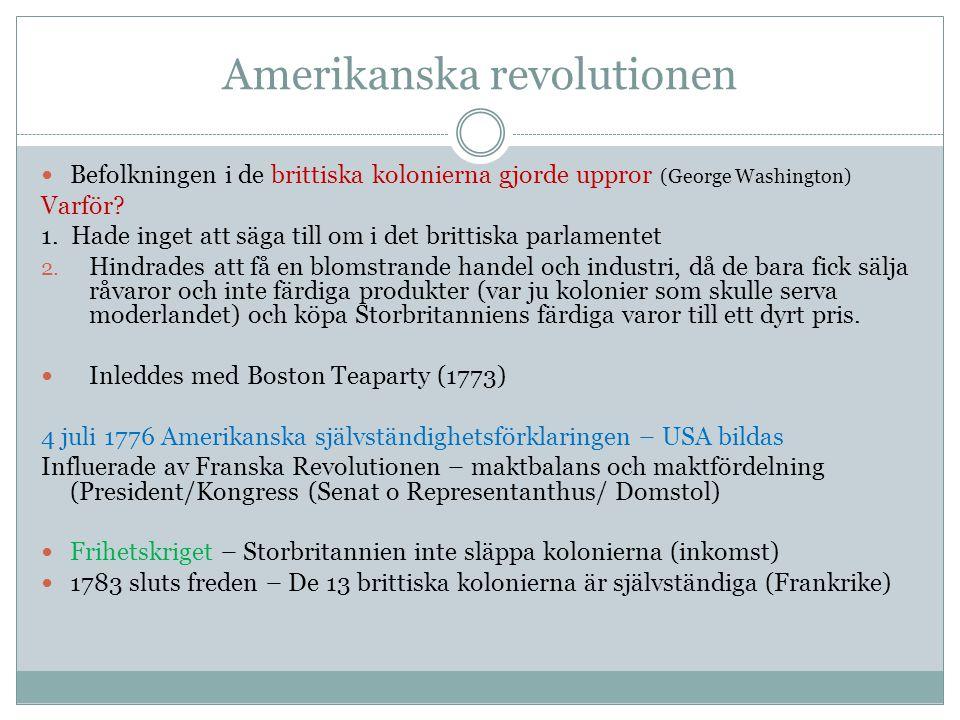 Amerikanska revolutionen Befolkningen i de brittiska kolonierna gjorde uppror (George Washington) Varför? 1. Hade inget att säga till om i det brittis