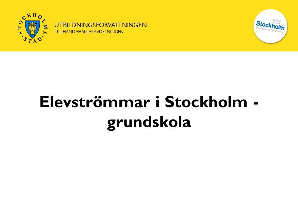 UTBILDNINGSFÖRVALTNINGEN TILLHANDAHÅLLARAVDELNINGEN Elevströmmar i Stockholm - grundskola