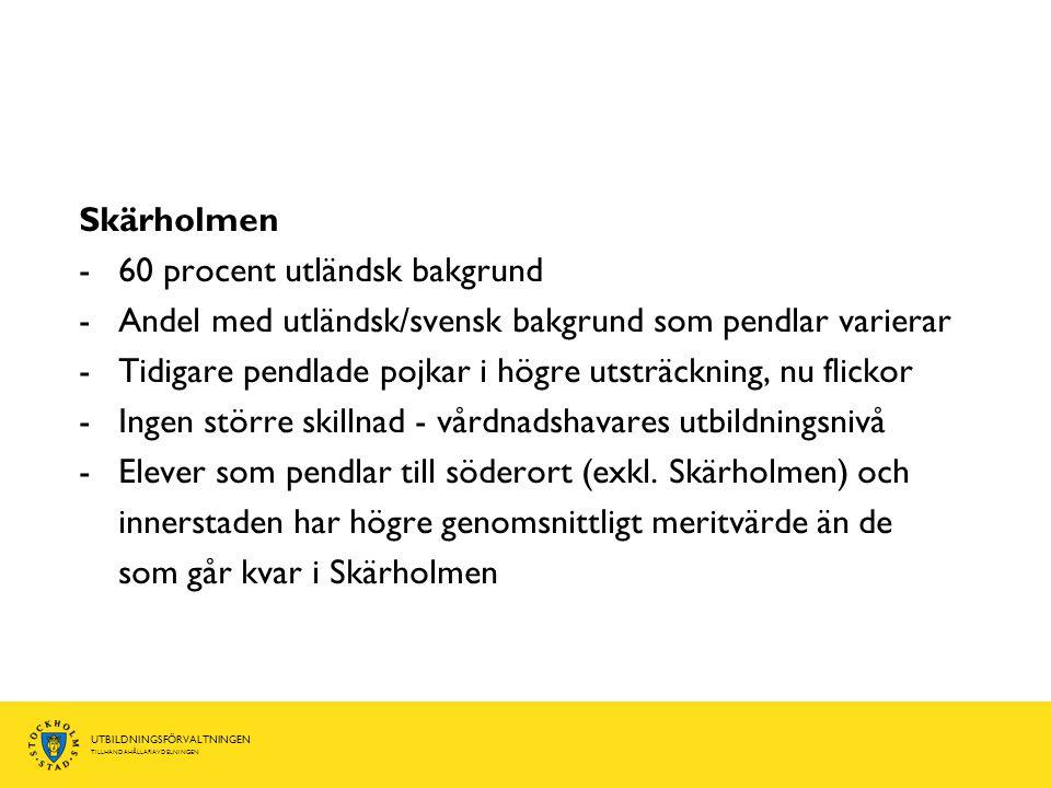 UTBILDNINGSFÖRVALTNINGEN TILLHANDAHÅLLARAVDELNINGEN Skärholmen -60 procent utländsk bakgrund -Andel med utländsk/svensk bakgrund som pendlar varierar -Tidigare pendlade pojkar i högre utsträckning, nu flickor -Ingen större skillnad - vårdnadshavares utbildningsnivå -Elever som pendlar till söderort (exkl.
