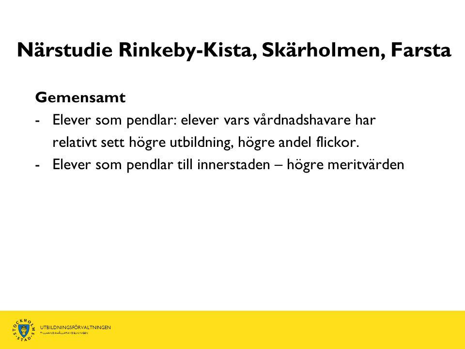 UTBILDNINGSFÖRVALTNINGEN TILLHANDAHÅLLARAVDELNINGEN Närstudie Rinkeby-Kista, Skärholmen, Farsta Gemensamt -Elever som pendlar: elever vars vårdnadshavare har relativt sett högre utbildning, högre andel flickor.