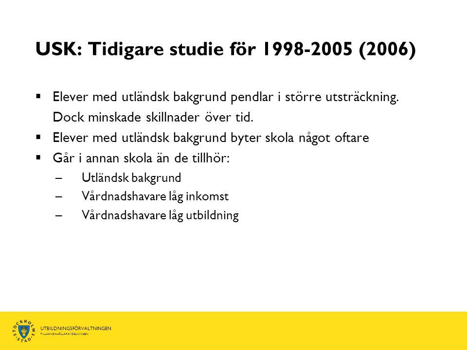 UTBILDNINGSFÖRVALTNINGEN TILLHANDAHÅLLARAVDELNINGEN USK: Tidigare studie för 1998-2005 (2006)  Elever med utländsk bakgrund pendlar i större utsträckning.