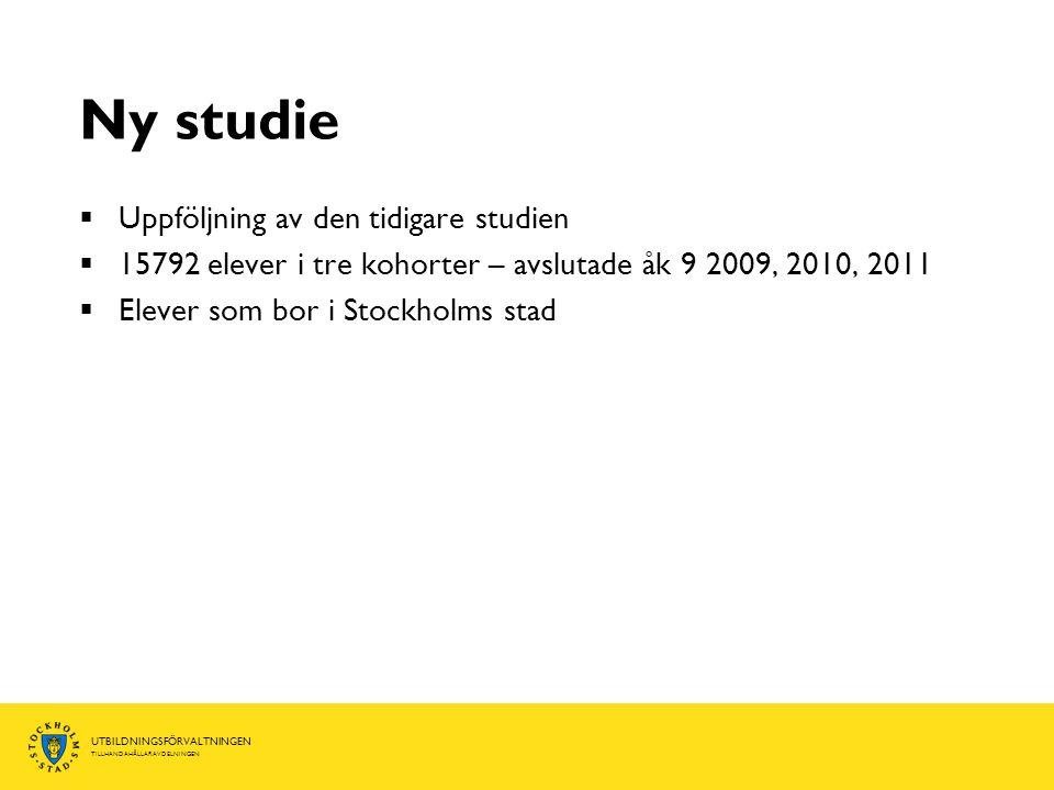 UTBILDNINGSFÖRVALTNINGEN TILLHANDAHÅLLARAVDELNINGEN Ny studie  Uppföljning av den tidigare studien  15792 elever i tre kohorter – avslutade åk 9 2009, 2010, 2011  Elever som bor i Stockholms stad