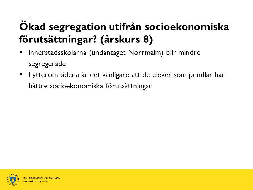 UTBILDNINGSFÖRVALTNINGEN TILLHANDAHÅLLARAVDELNINGEN Ökad segregation utifrån socioekonomiska förutsättningar.