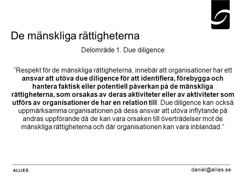 """De mänskliga rättigheterna Delområde 1. Due diligence """"Respekt för de mänskliga rättigheterna, innebär att organisationer har ett ansvar att utöva due"""