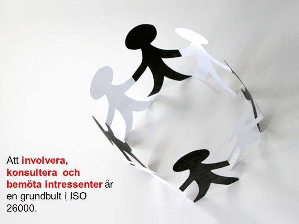 Att involvera, konsultera och bemöta intressenter är en grundbult i ISO 26000.