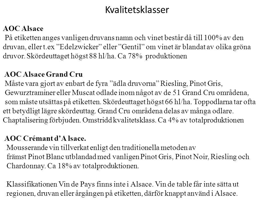 """Kvalitetsklasser AOC Alsace På etiketten anges vanligen druvans namn och vinet består då till 100% av den druvan, eller t.ex """"Edelzwicker"""" eller """"Gent"""
