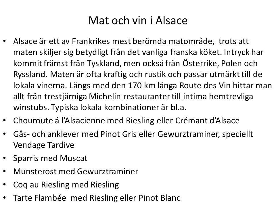 Mat och vin i Alsace Alsace är ett av Frankrikes mest berömda matområde, trots att maten skiljer sig betydligt från det vanliga franska köket. Intryck
