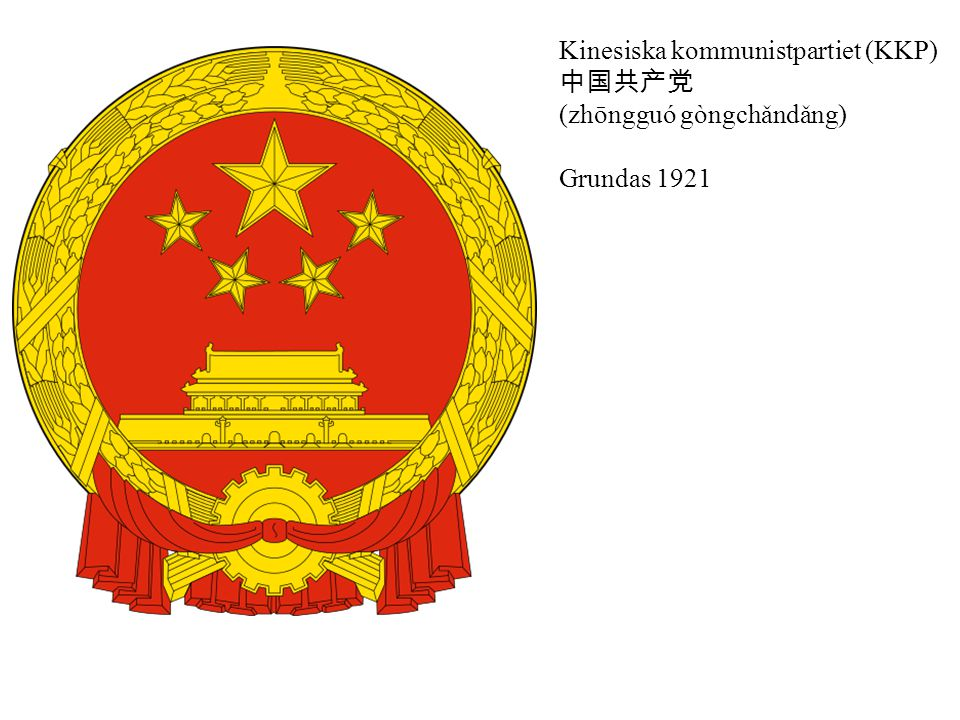 Kinesiska kommunistpartiet (KKP) 中国共产党 (zhōngguó gòngchǎndǎng) Grundas 1921