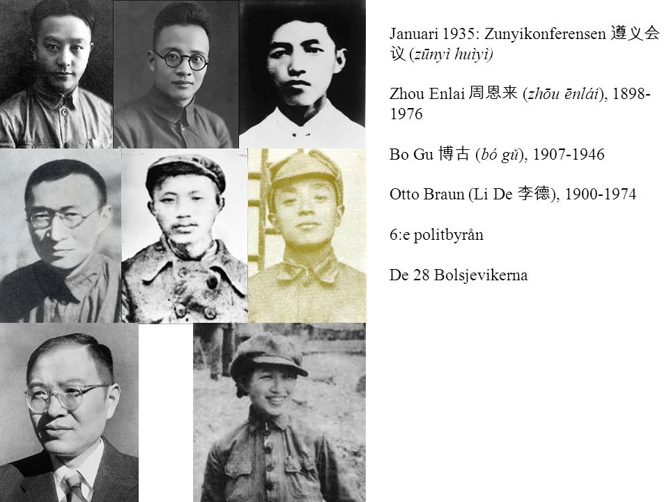 Januari 1935: Zunyikonferensen 遵义会 议 (zūnyì huìyì) Zhou Enlai 周恩来 (zhōu ēnlái), 1898- 1976 Bo Gu 博古 (bó gǔ), 1907-1946 Otto Braun (Li De 李德 ), 1900-1974 6:e politbyrån De 28 Bolsjevikerna
