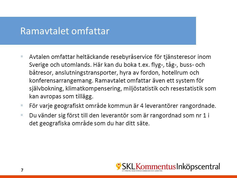 Ramavtalet omfattar  Avtalen omfattar heltäckande resebyråservice för tjänsteresor inom Sverige och utomlands. Här kan du boka t.ex. flyg-, tåg-, bus