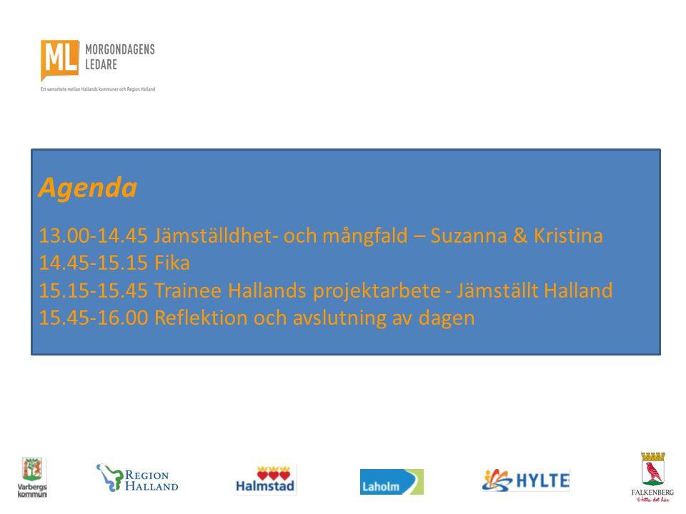 Agenda 13.00-14.45 Jämställdhet- och mångfald – Suzanna & Kristina 14.45-15.15 Fika 15.15-15.45 Trainee Hallands projektarbete - Jämställt Halland 15.45-16.00 Reflektion och avslutning av dagen