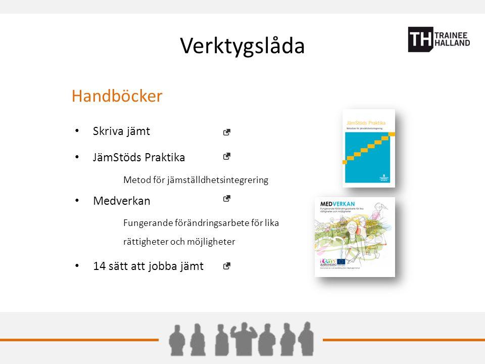 Verktygslåda Handböcker Skriva jämt JämStöds Praktika Metod för jämställdhetsintegrering Medverkan Fungerande förändringsarbete för lika rättigheter och möjligheter 14 sätt att jobba jämt