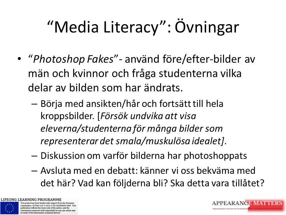 """""""Media Literacy"""": Övningar """"Photoshop Fakes""""- använd före/efter-bilder av män och kvinnor och fråga studenterna vilka delar av bilden som har ändrats."""
