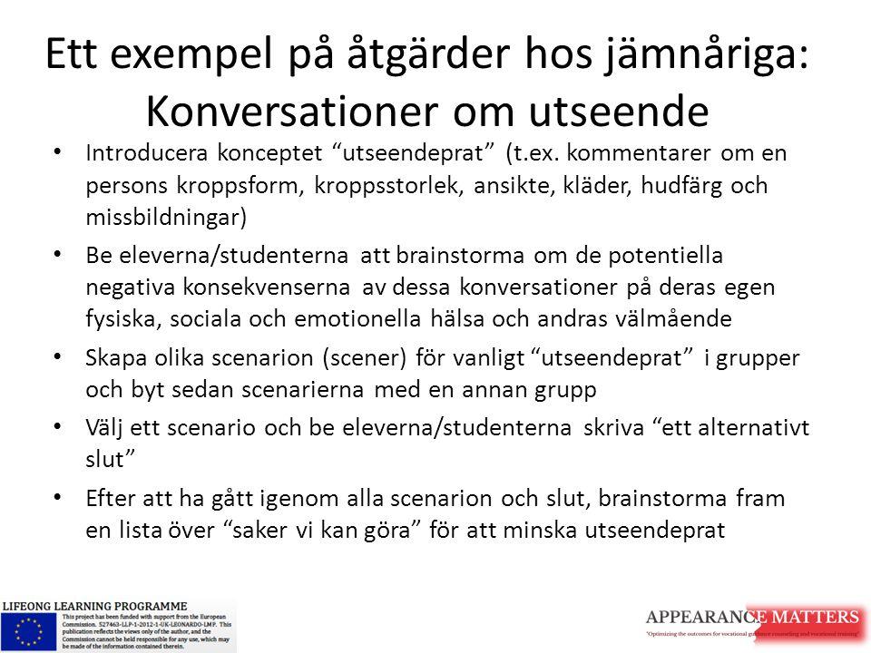 """Ett exempel på åtgärder hos jämnåriga: Konversationer om utseende Introducera konceptet """"utseendeprat"""" (t.ex. kommentarer om en persons kroppsform, kr"""