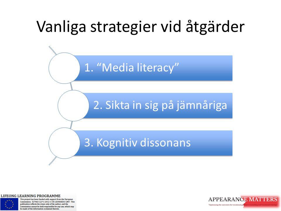 """Vanliga strategier vid åtgärder 1. """"Media literacy"""" 2. Sikta in sig på jämnåriga 3. Kognitiv dissonans"""
