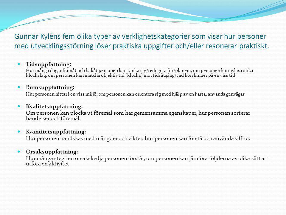 Gunnar Kyléns fem olika typer av verklighetskategorier som visar hur personer med utvecklingsstörning löser praktiska uppgifter och/eller resonerar pr