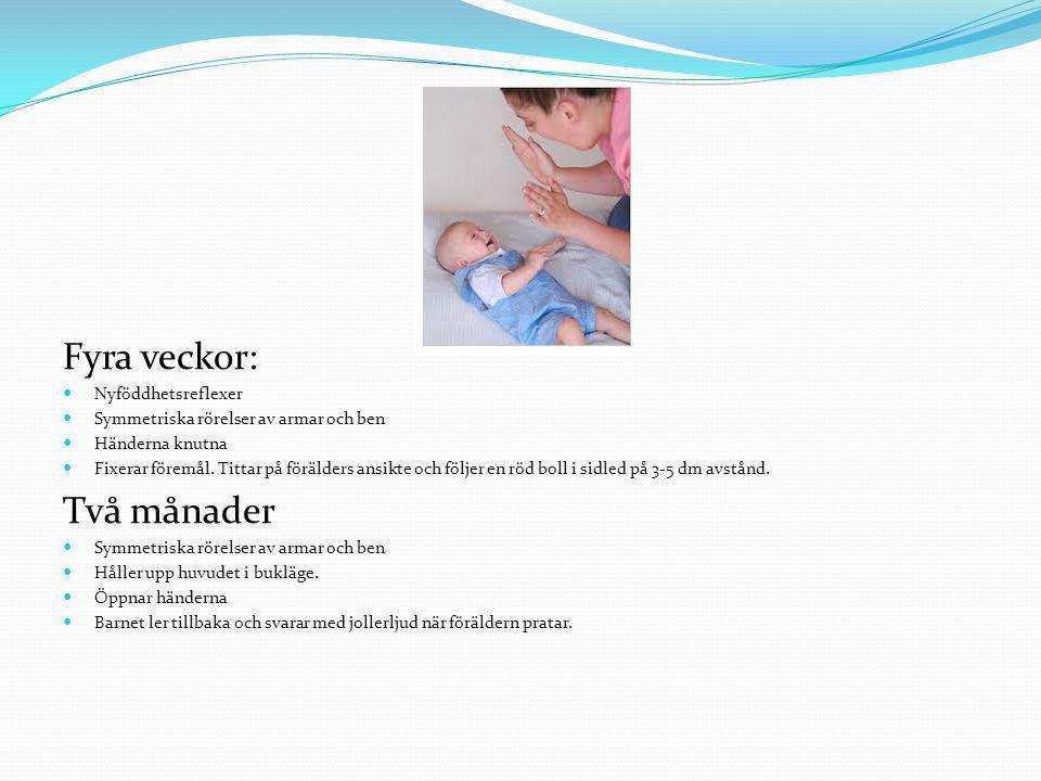 Fyra veckor: Nyföddhetsreflexer Symmetriska rörelser av armar och ben Händerna knutna Fixerar föremål. Tittar på förälders ansikte och följer en röd b