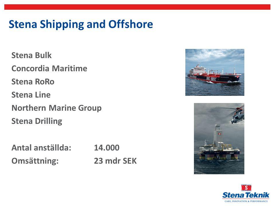 Stena Line 23 linjer 43 fartyg Antal anställda 5800 Bunkerkostnad 2013 ca 2 mdr SEK Bunkerkostnad 2015 ca 2,5 mdr SEK