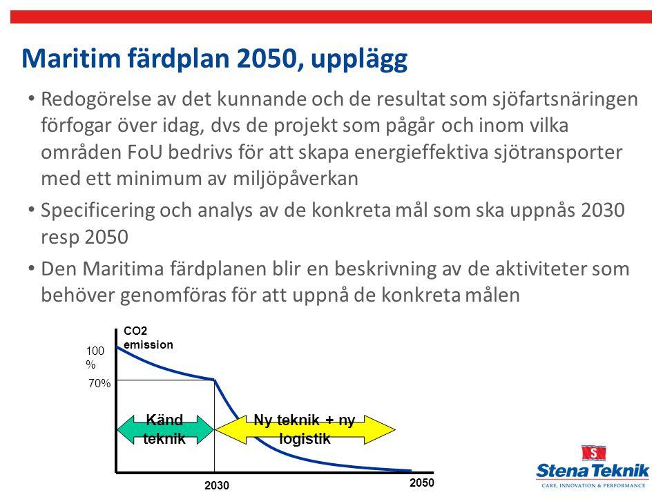 Maritim färdplan 2050, upplägg 2050 2030 CO2 emission 100 % 70% Känd teknik Ny teknik + ny logistik Redogörelse av det kunnande och de resultat som sj