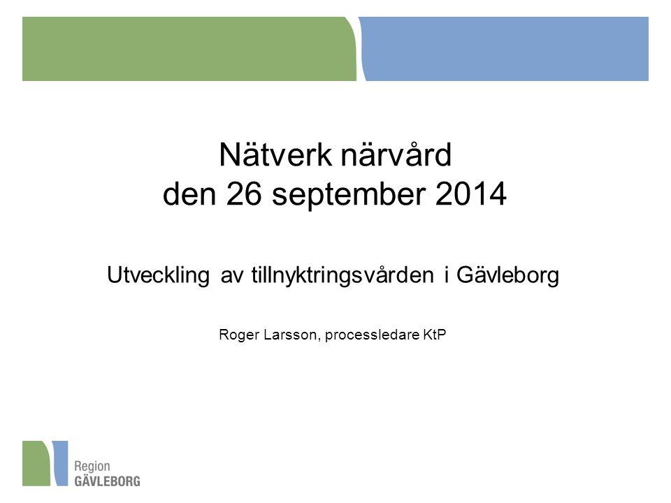 Nätverk närvård den 26 september 2014 Utveckling av tillnyktringsvården i Gävleborg Roger Larsson, processledare KtP