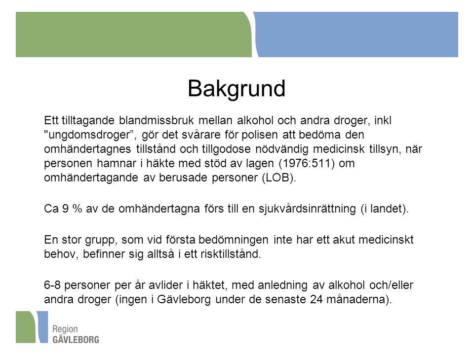 Bakgrund Ett tilltagande blandmissbruk mellan alkohol och andra droger, inkl ungdomsdroger , gör det svårare för polisen att bedöma den omhändertagnes tillstånd och tillgodose nödvändig medicinsk tillsyn, när personen hamnar i häkte med stöd av lagen (1976:511) om omhändertagande av berusade personer (LOB).