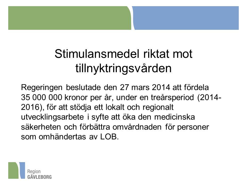 Stimulansmedel riktat mot tillnyktringsvården Regeringen beslutade den 27 mars 2014 att fördela 35 000 000 kronor per år, under en treårsperiod (2014- 2016), för att stödja ett lokalt och regionalt utvecklingsarbete i syfte att öka den medicinska säkerheten och förbättra omvårdnaden för personer som omhändertas av LOB.