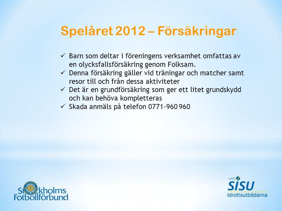 Spelåret 2012 – Försäkringar Barn som deltar i föreningens verksamhet omfattas av en olycksfallsförsäkring genom Folksam. Denna försäkring gäller vid