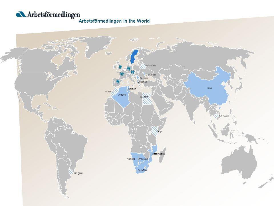 Tunisien Sydafrika Namibia Mocambique Botswana Algeriet Albanien Serbien Kina Moldavien Uruguay Kambodja Egypten Kenya Vitryssland Marocko Arbetsförmedlingen in the World