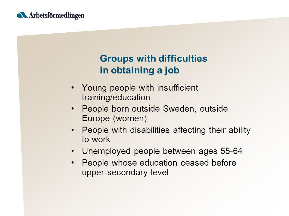 Groups with difficulties in obtaining a job Young people with insufficient training/education People born outside Sweden, outside Europe (women) People with disabilities affecting their ability to work Unemployed people between ages 55-64 People whose education ceased before upper-secondary level