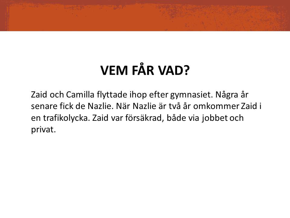 VEM FÅR VAD? Zaid och Camilla flyttade ihop efter gymnasiet. Några år senare fick de Nazlie. När Nazlie är två år omkommer Zaid i en trafikolycka. Zai