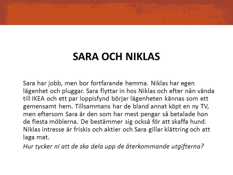 SARA OCH NIKLAS Sara har jobb, men bor fortfarande hemma. Niklas har egen lägenhet och pluggar. Sara flyttar in hos Niklas och efter nån vända till IK