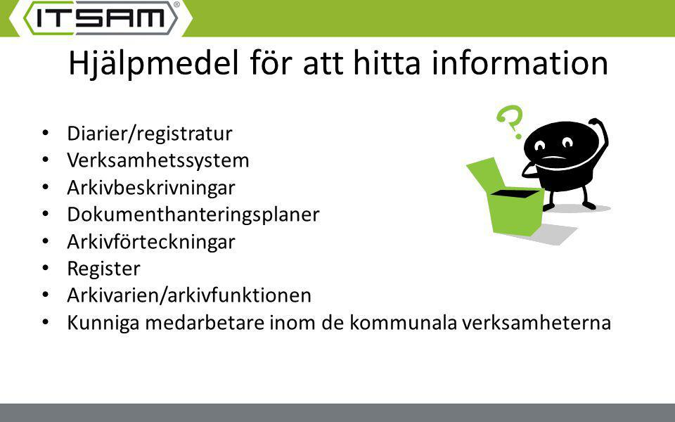 Hjälpmedel för att hitta information Diarier/registratur Verksamhetssystem Arkivbeskrivningar Dokumenthanteringsplaner Arkivförteckningar Register Ark