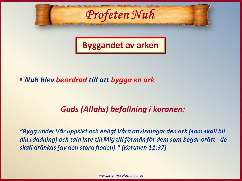 www.islamforelasningar.se  Nuh börjar bygga arken  Folket hånar Nuh när de bygger Profeten Nuh Gud (Allah) återger i koranen: Och [Nuh] byggde arken.
