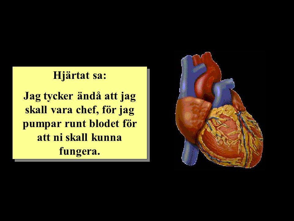 Hjärtat sa: Jag tycker ändå att jag skall vara chef, för jag pumpar runt blodet för att ni skall kunna fungera. Hjärtat sa: Jag tycker ändå att jag sk