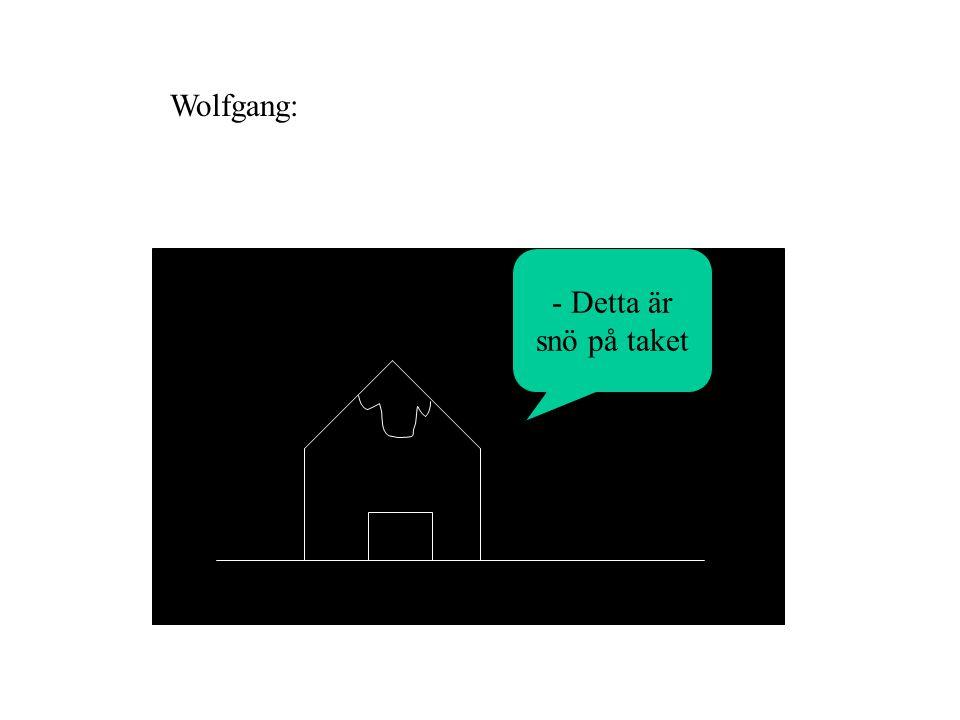 - Detta är snö på taket Wolfgang: