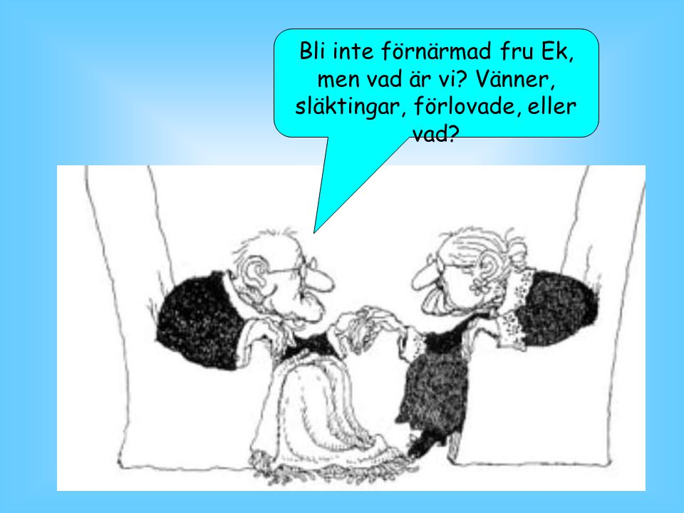 Bli inte förnärmad fru Ek, men vad är vi? Vänner, släktingar, förlovade, eller vad?