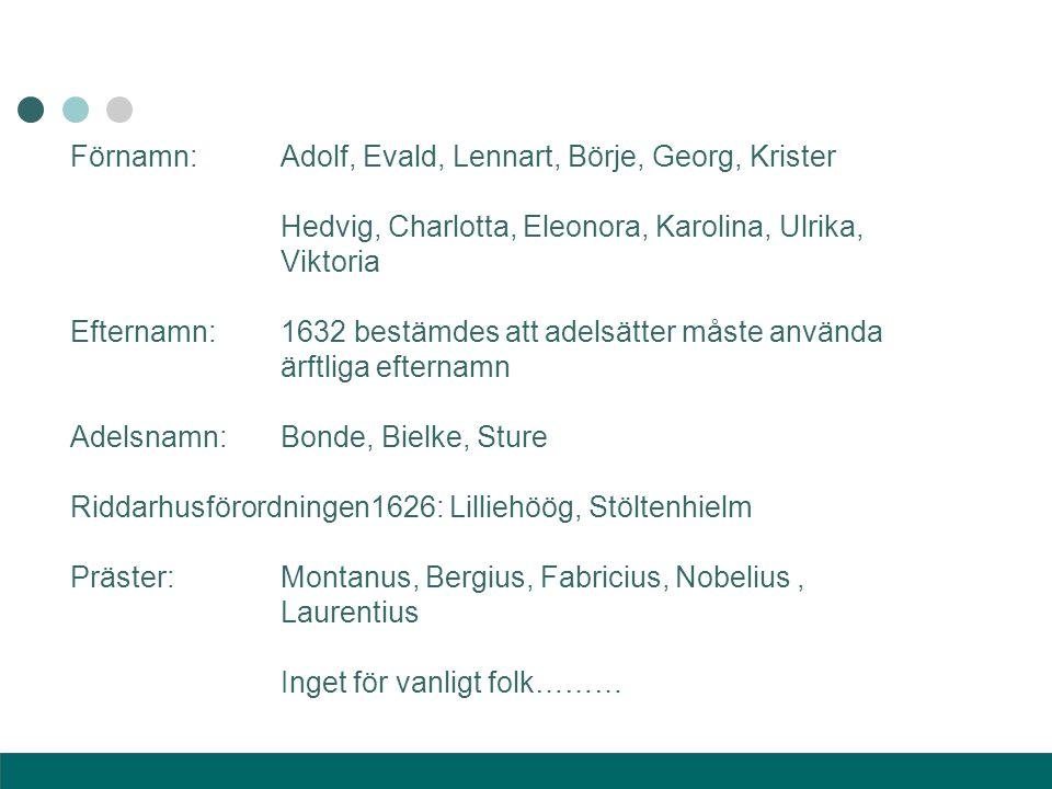Förnamn:Adolf, Evald, Lennart, Börje, Georg, Krister Hedvig, Charlotta, Eleonora, Karolina, Ulrika, Viktoria Efternamn:1632 bestämdes att adelsätter m